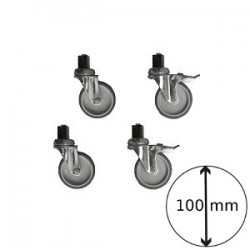 Kit de 4 roues inox ø 100 (2 avec freins)