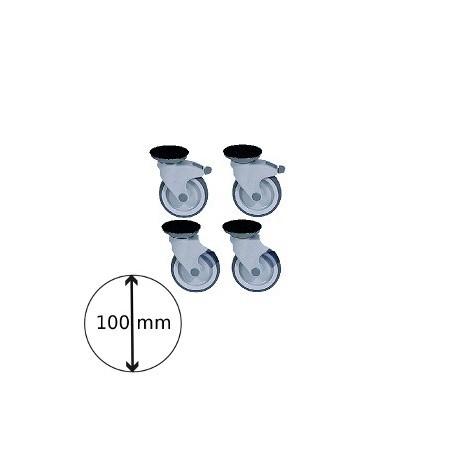Kit de 4 roues syn ø 100 (2 avec freins)