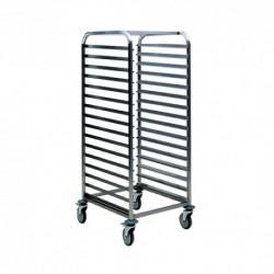 chariot 16 niveaux PLAT 60x40 , Inox 18/10 brossé
