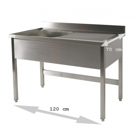 Plonge table 1 bac 1.20 m égouttoir droite