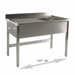 Plonge table 1 bac 1.20 m égouttoir gauche  ATTENTION profondeur de 60 cm