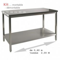 Table inox kit à monter 140 cm