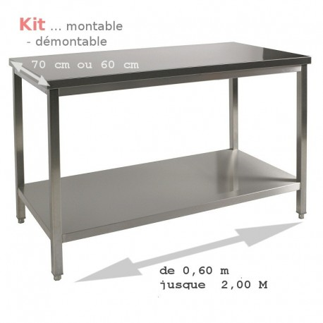 Table inox kit à monter 140 cm