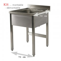 Plonge table  KIT  1 bac 0,7 m