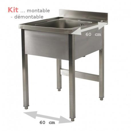 Plonge table  KIT  1 bac 0,6 m (S60) ATTENTION profondeur de 60 cm