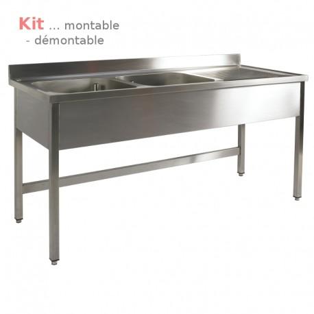 Plonge table  KIT 1,60 m 2 bacs égouttoir à droite 1,60 m