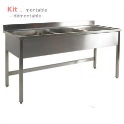 Plonge table  KIT 2,00 m 2 bacs égouttoir à droite 2,00 m