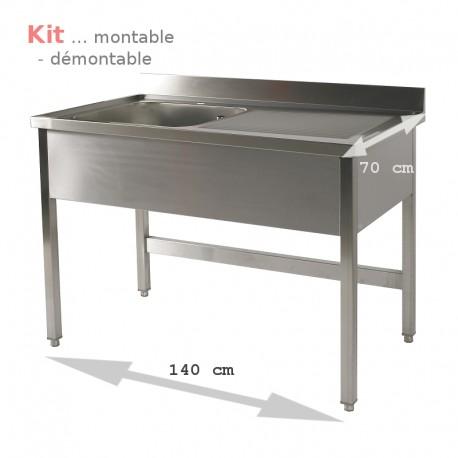 Plonge table  KIT 1,40 m 1 bac égouttoir à droite 1,40 m
