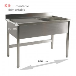 Plonge table  KIT 1,00 m 1 bac égouttoir à gauche 1,00 m (S60) ATTENTION profondeur de 60 cm