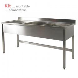Plonge table  KIT 1,60 m 2 bacs égouttoir à gauche 1,60 m