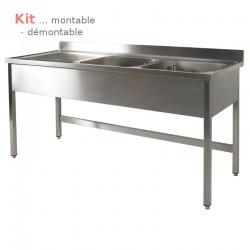 Plonge table  KIT 2,00 m 2 bac égouttoir à gauche 2,00 m