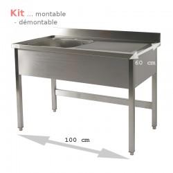Plonge table  KIT 1,00 m 1 bac égouttoir à droite 1,00 m (S60) ATTENTION profondeur de 60 cm