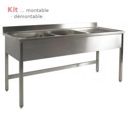 Plonge table  KIT 1,40 m 2 bacs égouttoir à droite 1,40 m (S60) ATTENTION profondeur de 60 cm